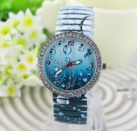 Women Fashion Wristwatch Water Drop Design Ink Expansion Band Quartz Movement Ladies Dress Watch with Battery Free Shipping