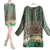 Vogue autumn spring Ladies Chain o-neck Leopard Long Sleeve Mini Dress Loose shift dress vestido