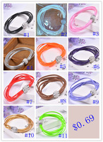 Xmas Gift wholesale 10 pcs of magnetic shamballa clasp PU double leather Bracelets  factory Wholesale Bs7126A