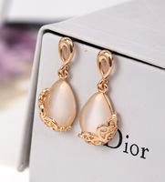 New Style 18K gold-plated Elegant Cat's eye Stone Stud Earrings,Hollow Drops Earrings Jewelry brincos pendientes