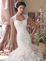 Ivory/White Cap Sleeves Lace Ruffled Long Wedding Dresses Bridal Gowns Vestidos de Novia Custom Made 2014