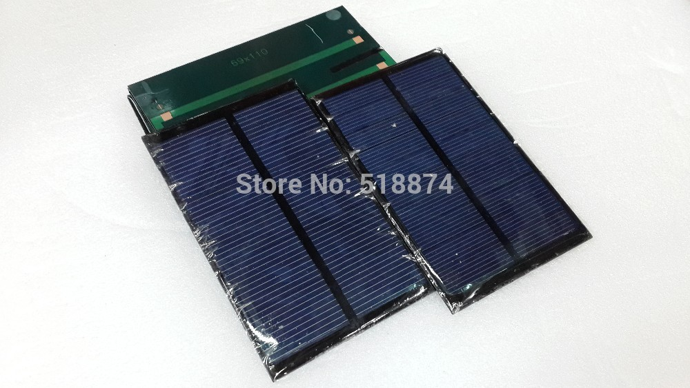 15Pcs/Lot Mini Solar panel 110 x 69 mm 5V 180mA Solar Panel Cell Module Charger USB 5V 0.9W(China (Mainland))