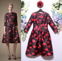 Freeshipping New Dress Autumn Winter Women Black Red Color Block Print A-Line Flare Mid-Calf Length Beautiful Woman Dress
