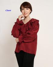 Seda mais a camisa do tamanho puras mulheres Nova chegada, 100% seda amoreira V -neck pulôver de manga comprida mulheres blusas de seda , babados camisa(China (Mainland))