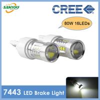 2014 New Xenon White 80W 12v T20 7443 CREE LED Car Tail Brake Stop Light Bulb Fog Lamp White,Red, Yellow Available