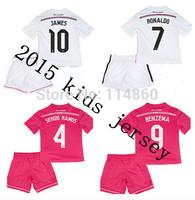 2015 Real Madrid Kids home away pink  Ronaldo Bale KROOS JAMES Rodriguez Real Madrid Kids 14 15 Uniform Children