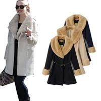UK 2014 New Autumn Winter Women Fashion Beige Imitation rabbit fur Coat Casual Warm Long Jacket Female Outerwear Free shipping