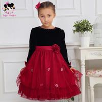 Shy Princess Kids Girls Dress autumn 2014 new children's baby princess  yarn  sleeve