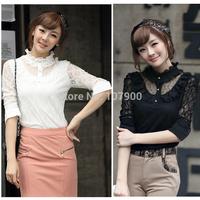 Fashion Women's Long Sleeve Lace Shirt Top Blouse blusas feminina casual Slim Shirt C023
