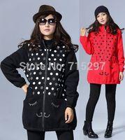 2014 new women plus size loose thick velvet elegant outwear rabbit ear cute sweet warm sweet winter coat hooded sweatshirt thick