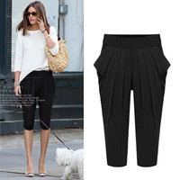 Plus Size 5XL Women Clothing Elastic Pintuck Baggy Pants Capris Haroun Short Pants Solid Black Grey  New 2014