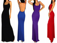 New Women Sexy Celebrity Long Dress Cotton Evening Party Sleeveless Backless Maxi Dress 4164