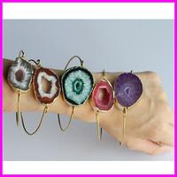 Wholesale 5PCS natural druzy geode stone bangle, quartz drusy gem stone bracelet,18k gold plated crystal stone bangle jewelry
