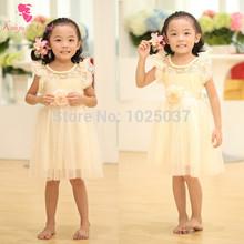 New Champagne Kids Girls Princess Party Dress With Ribbon Belt Ruffle Baby GIrls Dress With Flower Pink  Free Shipping(China (Mainland))