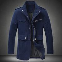 3 Colors ! 2014 New Arrival Quality M-5XL Plus Size Long Coat Winter Warm Fashion Men's Wool Blends