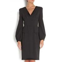 2014 flounced waist Puff V-neck long-sleeved dress high-end atmosphere