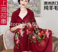 Shanghai Story   female  Peony Figure pure wool warm scarf