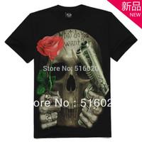 2013 Fashion summer round neck skull loose Men's Punk Love short-sleeve T-shirt hiphop t-shirt Free Shipping
