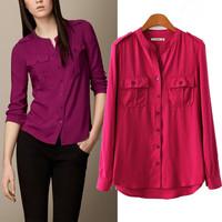 New 2015 Elegant Women Clothing Fashion Casual Long Sleeve Two Pockets Shirts Women Brand Designer Blouse