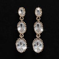 18K Gold Plated AAA+CZ Zircon Jewelry  big long drop earrings,925 Silver needles earrings for woman,oval pendientes