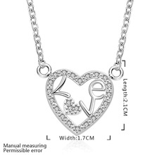 Promotion free shipping wholesale Silver plated necklace silver fashion jewelry love in our heart Necklace SMTN655