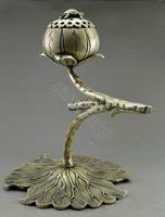 Antique Imitation Home Decoration Old Tibet Silver Big Lotus Leaf Tortoise Incense Burner Free shipping