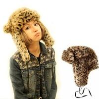 New 2014 Leopard Faux Fur Warm Winter Women Russian Hats with Ears Fashion Winter Outdoor Cap Female Earflaps Hat Lady Aviator
