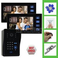 7 Inch Monitor Video Door Phone Intercom System Remote Control IR Keypad RFID Reader Weatherproof Camera 2 Monitor 1 Camera