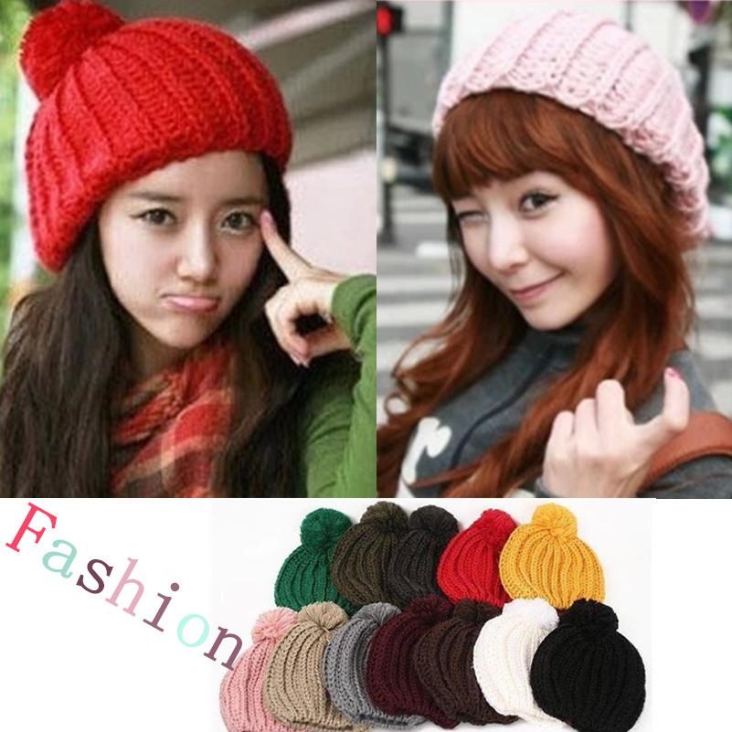 Hot fashion 2014 New female models candy balls of wool knit hat monochrome large sets of headgear Women's Beanies(China (Mainland))