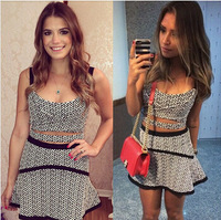 Sexy houndtooth print two-piece bandage dress cut out crop top skater tennis dress set vested beachwear casual