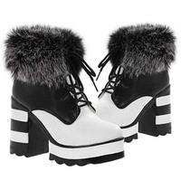 Fashion Winter Warm  Women Boots High Heel Waterproof  Martin Boot Short Plush Cotton Fur Shoes Black White 1 Pair Free Shipping