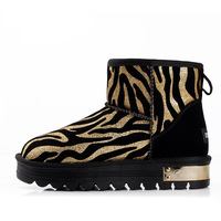 Gold women's long plush lining warm snow boots,flat PU ankle boots,size 35,36,37,38,39,40