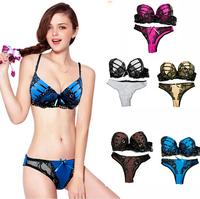 Hot Sale Lady Butterfly Design Sexy Bra Set Underwear Push Up Back Closure Lace Bra Brief Sets  6 Color Women Bra Set