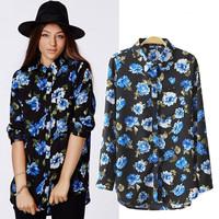 Printed Floral Shirt Retro Vintage Slim Casual Women Shirt 2015 Summer New Fashion Long Sleeve Blouse Women Clothing