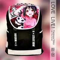 New Anime Cartoon Japanese Love Live Yazawa Niko Black Oxford Fabric Shoulders Laptop Purse Bag Packet Backpacks