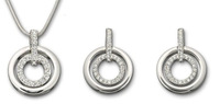 3sets Noble Elegant Flicker Concentric circle jewelry rhinestone necklace pendant stud earrings silver color
