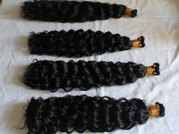 stock human virgin remy hair hand tied weft ,thick ends double drawn,deep wave curly,hand hooked weaving,natural color 100g/pack