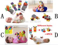 4pcs/set baby rattle toys 2014 new brand Garden Bug Wrist Rattles Foot Socks for infant baby boys girls kids children Christmas