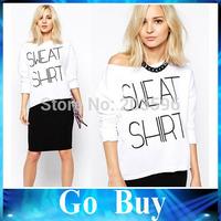 Free shipping YF0726 Spring New Arrival Women T Shirt Long Sleeve Slash Neck White T-shirt Sweat Shrt Printed Women