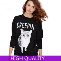 Sweatshirts Women 2014 New Cat Printed Hoodies Pullover Long Sleeve O Neck Sport Suit for Women Tracksuits Outerwear Pullovers