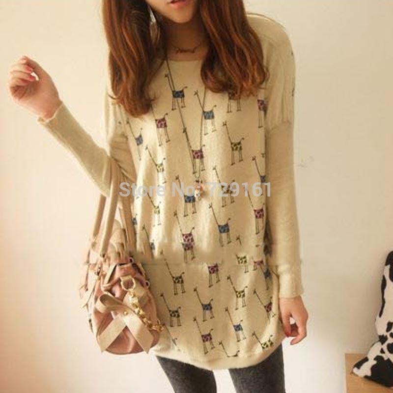 Autumn winter 2014 fashion new women long sleeve knitwear shirt cartoon giraffe printed t shirt casual