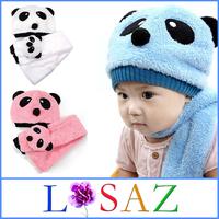 ( Hats & Scarf ) Christmas Cartoon Panda Winter Children Hat and Scarf Set