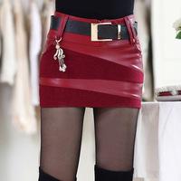 Autumn/winter 2014 new women's stylish plus size wool PU leather stitching skirt shorts saias femininas leather skirt 0830