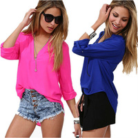 Tropical Plus Size Blusas Roupas Femininas Desigual Deep V-neck Chiffon Cheap Clothes China 2015 Fashion Women Tops  NZH063