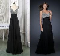 Popular Sparkly Prom Dresses V Neck Sleeveless A Line Floor Length Vestidos Sequined Crystal Chiffon Real Photos Prom Dress