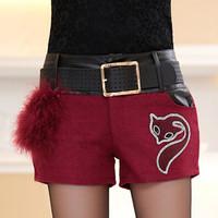 Fall/winter 2014 new women's fashion slim wool stitching PU leather shorts boots pants(send belt)shorts feminino shorts saia