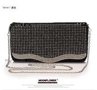 Korean crystal diamond expensive handbags OL commuter female bag business bag lid Ms. OL Party Evening Bag Free Shipping