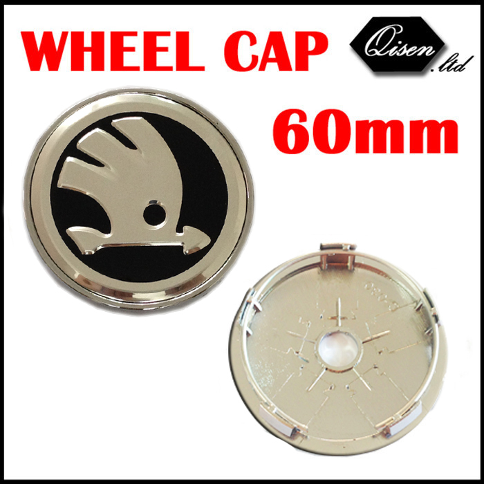 4 X NEW SILVER BLACK 60MM CAR WHEEL Hub Center LOGO Caps Metal Aluminum emblem badge Fits for skoda Octavia Fabia #SO297(China (Mainland))