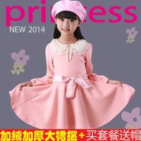 Kids girls dress 2014 new Korean children children autumn and winter long sleeved Princess Dress son Terry