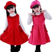Saint grass leaves in spring and autumn 2013 new dresses  children princess  Korean nickname cashmere dress son